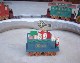 Hallmark Ornament Set  ~  Hallmark Train Set  ~   Claus & Co rr Hallmark Train and Trestle Ornament Set  ~  Hallmark Keepsake Ornament 1991