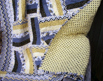 Owl Lap Quilt Yellow Gray Black White Quilted Quiltsy Handmade FREE U.S. Shipping
