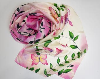 Hand painted silk scarf Fuchsia flowers and butterflies