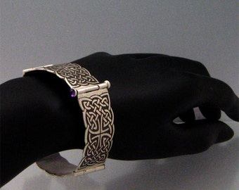 Handmade Etched Celtic Link Bangle Bracelet with Amethysts--Solid Sterling Silver--Made in the USA by me--FREE Shipping