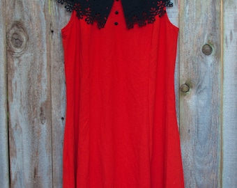Vintage Red Dress with Black Floral Cut Collar