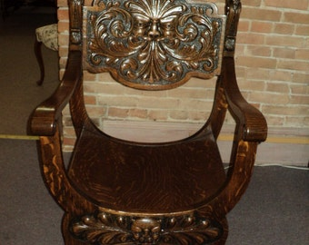 Antique Oak Throne Chair, Carved North Wind Face & Lion's Heads