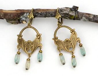 Boho Earrings Jewelry, Brass Gypsy Earrings, Bohemian Green Earrings, Hippie Earrings, Boho Jewelry Gift Ideas, Best Friend Gift Earrings