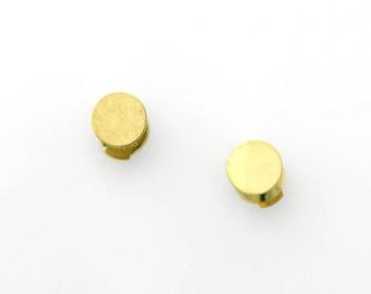 Gold Stud Earrings in 18K Gold Minimalist Gold Disc Post Earrings Handmade Fine Jewelry Gold Dot La Pousette Earring Backs