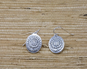 Silver chrysanthemum earrings, sterling, french wires, November flower of the month, November birth month flower