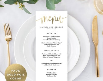 Wedding Menu Card Editable Template - Printable Menu Cards - Instant Download - Lovely Calligraphy - #LCC Faux Gold Foil