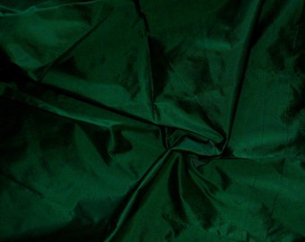 Fine Indian Silk Taffeta in Dark Green-Black Fat Qurter-TF 47