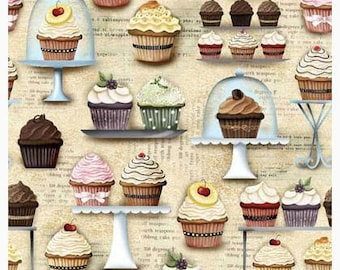 Novelty Cotton Fabric Cupcakery Quilting cupcakes fabric *