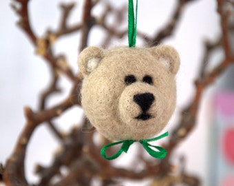 Christmas Needle felted bear woodlands ornament grey white children fantasy animal woodland nursery decor Birthday