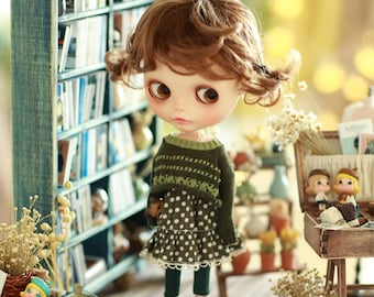 Miss yo 2015 Summer & Autumn - Vintage Hollow Pattern Sweater for Blythe / JerryBerry doll - dress / outfit - Green