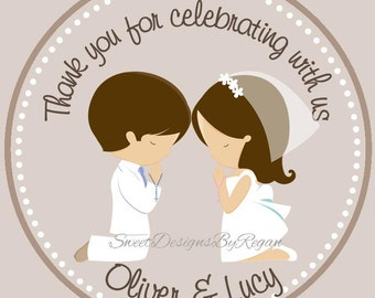First Communion Favor Tags ( Set of 12 ) / Twin First Communion Favors / 1st Communion Favors / Cousins First Communion