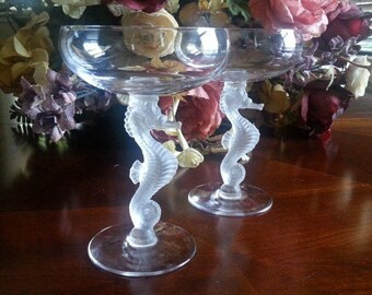 Sale. Bayel Crystal Champagne Coupes, 1976 to 1981, Vintage French Crystal Coupes, Bayel Champagne Coupes Sea Horse Pattern