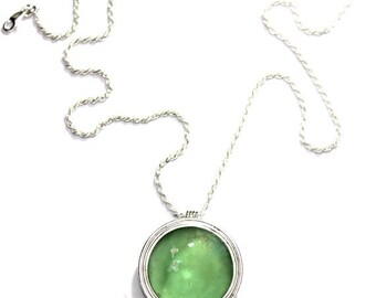 Spring Sale Hand Made One of a kind  925 Sterling Silver Green Roman Glass Pendant Necklace