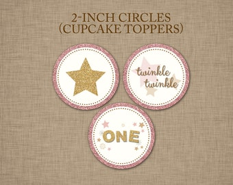 Twinkle Twinkle Little Star Birthday Cupcake Toppers - Blush Pink and Gold Glitter