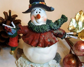 Snowman with Top Hat Figurine, Snow Person, Holiday Decor, Enesco Retired Vintage Figurine 1990's, Christmas Decor Gift Idea