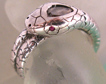 Snake Ring with Diamond and Rubies. PRICE REDUCED