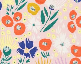Poppy Mum, The Floret Line by Cloud9 Fabrics, Multi-Colored Stylized Flowers on Pale Pink Semi-Sheer Batiste 100% Organic Cotton, Half Yard