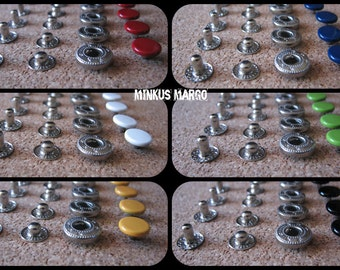 Snap Fastener Buttons Poppers Colored 10mm Red, White, Black, Green, Yellow, Blue
