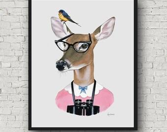 Oversized Doe print - Ryan Berkley Illustration - 16x20 or 20x28 - Modern Decor - Modern Nursery - Modern Kids - Woodland