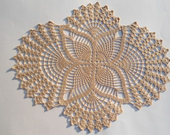 Crochet doily , ecru, oval doilies , lace ,home decor ,table decoration ,handmade
