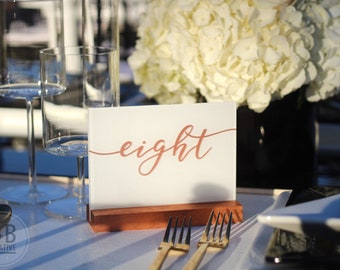 Custom Acrylic Table Numbers / rose gold / gold / centerpiece / table setting / wedding