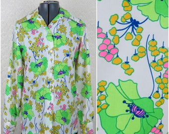 1970s Large Scale Green Floral Button Down Blouse - 100% Polyester (B2)