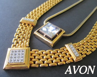 AVON Necklaces * Gold Tone * Pave Rhinestones * Square Cut Crystal * Classic Vintage * Lot Of Two Necklaces