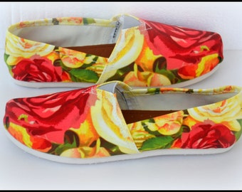 Custom Made Shoes, Floral Themed Shoes, Made to Order, Slip On Shoes, Womens Canvas Shoes, Custom Girls Shoes, Toms Shoes
