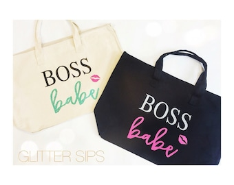 Boss Babe Zippered Canvas Tote Bag // Tote Bag // Zippered Tote // Canvas Bag // Handled Bag // Gym Bag // Boss // Babe // Zippered Bag