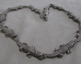 Sterling Silver Aligator Necklace