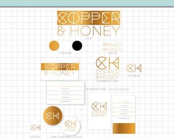LOGO BRANDING Set - Copper Honey - Business Card, 2 logos, 2 Sticker, Avatar, Element & More