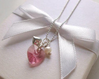 Sterling Silver bridesmaid necklace pink Swarovski heart necklace with Freshwater pearl flower girl necklace gift Swarovski bridesmaid gift
