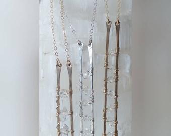 Herkimer Diamond ladder necklace