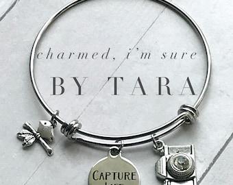 Capture Life/ Photographer bangle charm bracelet