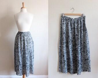 Vintage Calvin Klein Collection Blue Silk Midi Skirt
