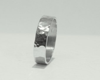 Silver 925 Stacking Wide Hammered band - Womens  Mens Ring - Wide Sterling Silver Stackable Ring - Silver Ring Set - Chevalier Ring