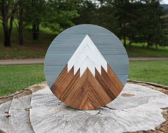 Reclaimed Wood Mountain Round Wall Art | Snow Cap Mountain Scape | Made to Order