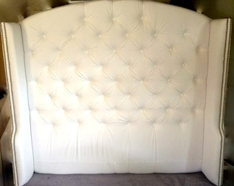 Diamond Tufted Slightly Arched Wingback Headboard In White Cotton (Queen,  Tall)