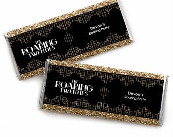 Roaring 20's -  1920s Art Deco Jazz Candy Bar Wrappers - Personalized Twenties Party Favors - Great Gatsby Theme Party - 24 Count