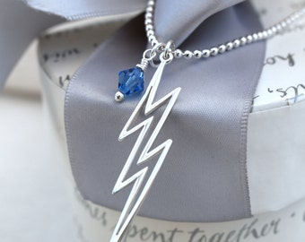 Sterling Silver Lightning Bolt Necklace with Swarovski Elements charm and your choice of color or without crystal charm