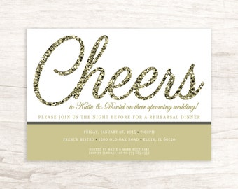 Cheers To The Happy Couple Rehearsal Dinner Invitation