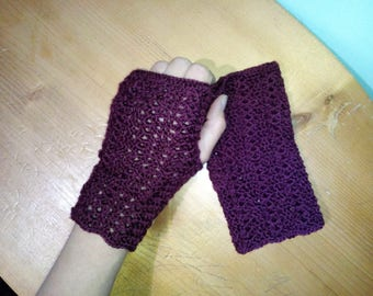 Fingerless crochet mittens Woman mittens Accessories for woman Wool mittens Gift for her Crochet mittens for gift