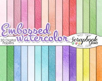 """Embossed Watercolor Digital Papers, 30 Pieces, 12"""" x 12"""", High Quality JPEG files, Instant Download"""