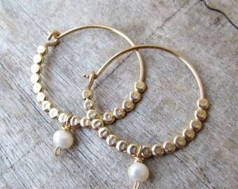 Gold Hoops, Pearls Hoops, Birthstone Earrings, Personalized Birthstone Jewelry, Gold Hoops, Pearls Earrings, Thin Gold Hoop Earr