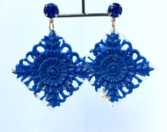 "Earrings ""expression"" deep ocean"
