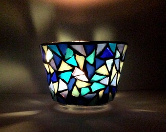 mosaic tealight holder, blue candle holder, stained glass tealight holder