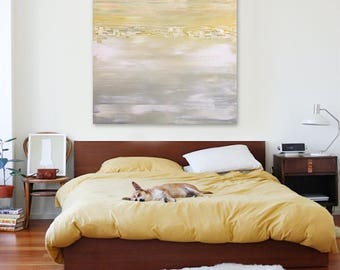 "Original large abstract painting - acrylic on canvas - 36""x36"" - southwest decor - boho decor - ombre - minimal - desert - stripes - texture"