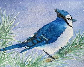 """blue jay watercolor painting archival print 8"""" x 10"""""""