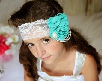 Teal Rose Headband, Flower Girl Headband, Teal Bridal Headband, White Lace Headband, Wedding Headband, Teal Wedding, Teal Adult Headband