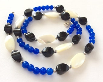 Cobalt Blue Jade, Black Agate and Mother of Pearl Shell and Gem Necklace